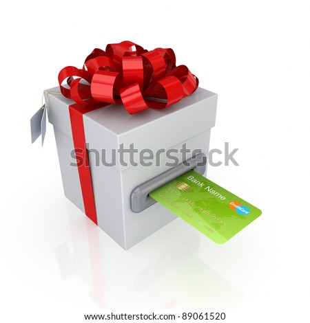 Green credit card and gift box.Isolated on white background.3d rendered.