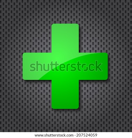 Green cross clean icon and dotted texture. Raster version - stock photo