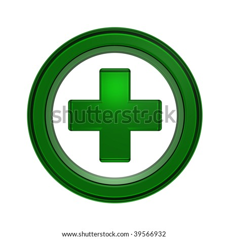 Green cross in the circle isolated on white - stock photo