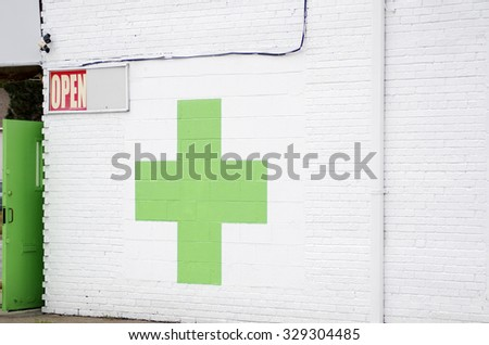 Green Cross, Medical Marijuana Dispensaries - stock photo