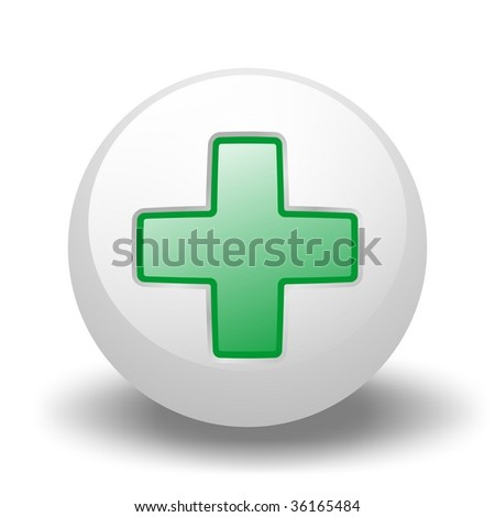 Green Cross On Ball - stock photo