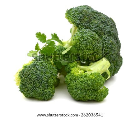green crown broccoli on white background  - stock photo