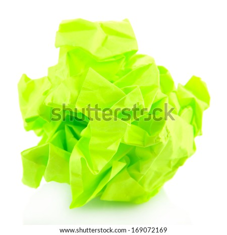 Green crumpled paper ball isolated on white