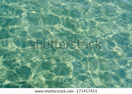 green crystal clear water of the ocean - stock photo