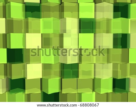 Green cube abstract background - stock photo