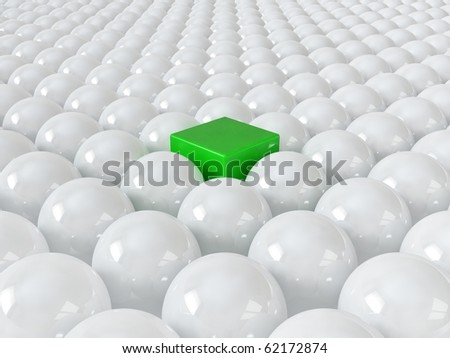 Green cube among white spheres, standing out in the crowd concept - stock photo