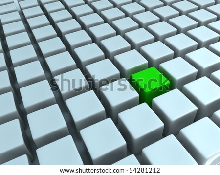 Green Cube in Abstract Cubes Matrix - stock photo