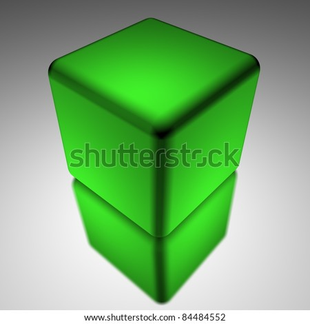 Green cube isolated on white and grey background - stock photo