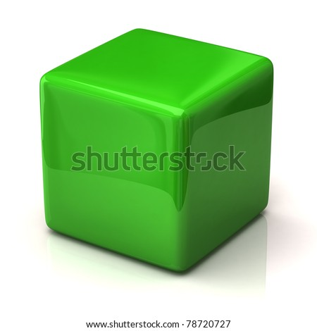Green cube isolated on white background - stock photo