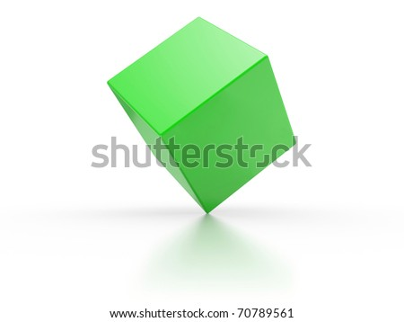 Green cube on a white background