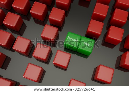 green cube showing that partnership is better, 3D render - stock photo