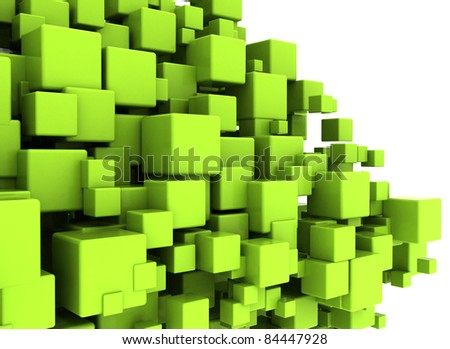 Green cubes abstract background - stock photo
