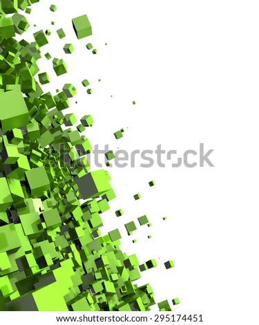 green cubes background 4 - stock photo