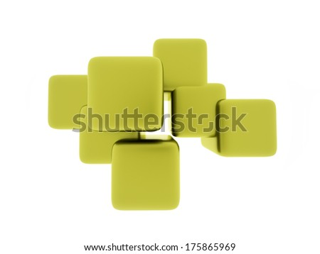Green cubes business concept rendered isolated on white background
