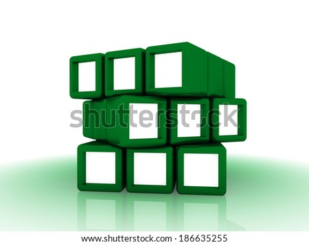 green cubes group - stock photo