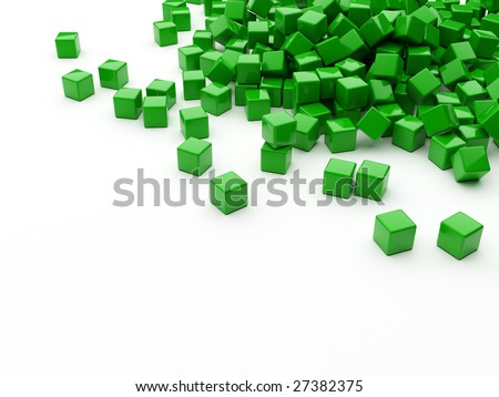 Green cubes scattered on white surface with copyspace