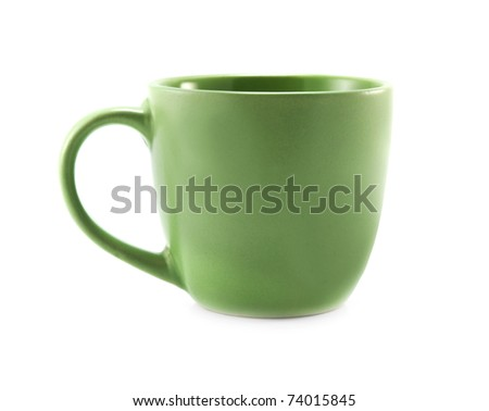 green cup isolated on a white background