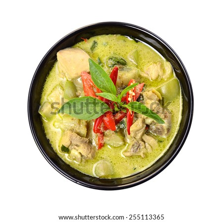 Green curry Chicken Intense soup on white, Thai cuisine - stock photo