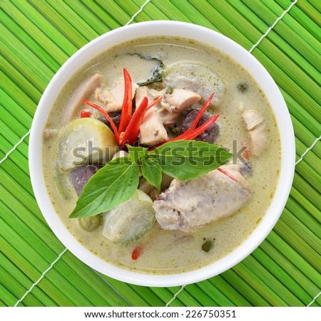Green curry chicken , Thai cuisine - stock photo