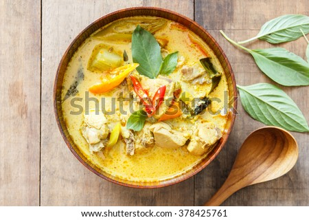 green curry chicken,thai food,Top view - stock photo