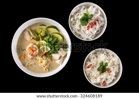 green curry with chicken and shrimps - stock photo