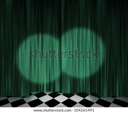 Green Curtain Spotlight Stage Background - stock photo