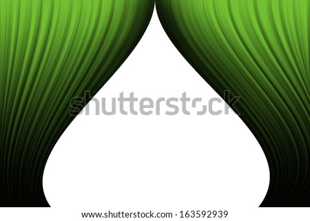 Green curtains on white background