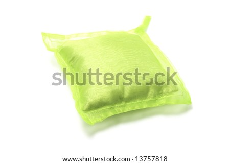 Green Cushion on Isolated White Background