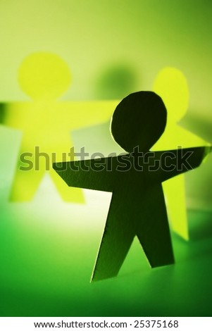 green cutouts of people - stock photo