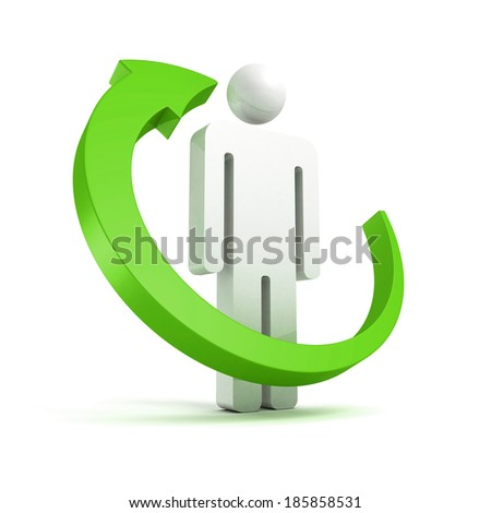 green cycle arrow around 3d small white man icon. business concept 3d render illustration - stock photo