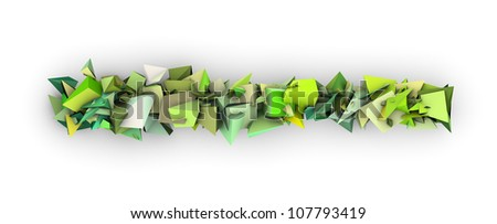 green 3d abstract modern sculpture on white - stock photo