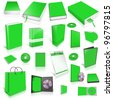 Green 3d blank cover collection, isolated on white - stock photo