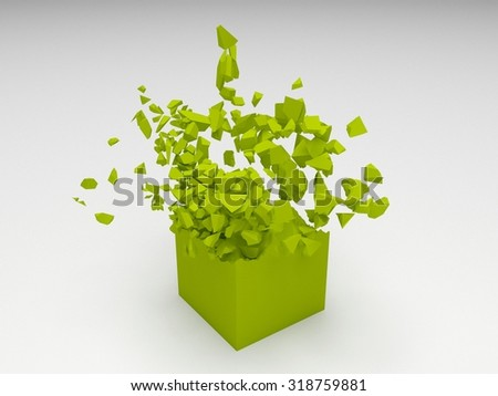 Green 3D cube object explosion with random particles - stock photo