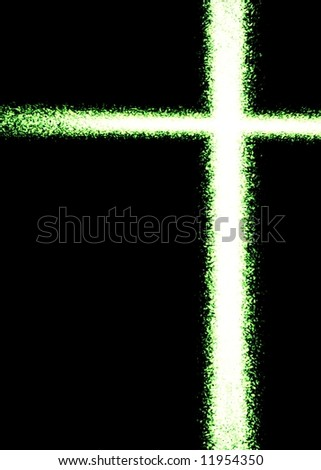 Green 3d flame cross, vertical, black background