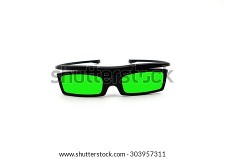 Green 3d Glasses isolated on white - stock photo