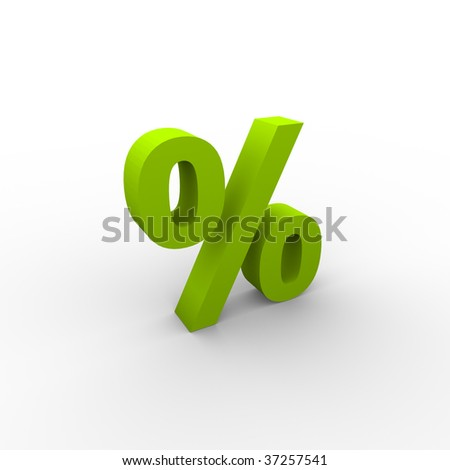 Green 3D Percent - stock photo