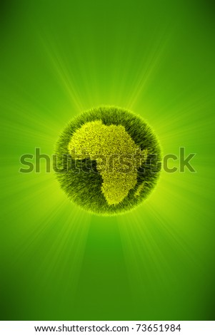 Green 3d planet concept, map of Africa - stock photo