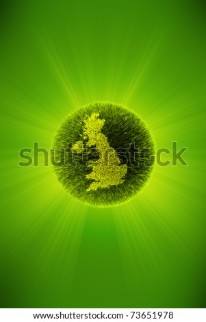 Green 3d planet concept, map of United Kingdom - stock photo