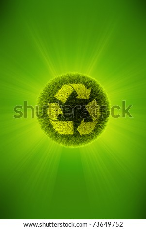 Green 3d planet concept of recycling - stock photo