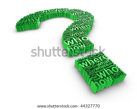Green 3d question mark made up of words on a white background - stock photo
