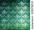 Green damask background - stock photo