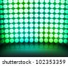 Green Dance Disco Lights Stage Background - stock photo