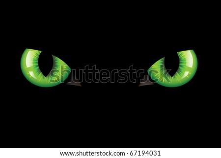 Green Dangerous Wild Cat Eyes, On Black Background - stock photo