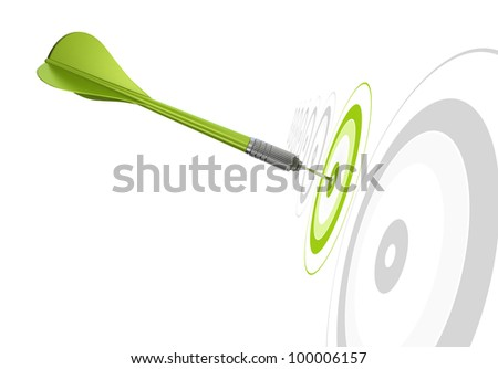 green dart hitting the center of a target, there is other grey targets in a row, white background