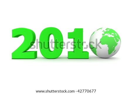 green date 2010 with 3D globe replacing number 0 - stock photo