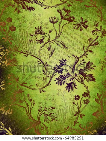 green decorative floral background - stock photo