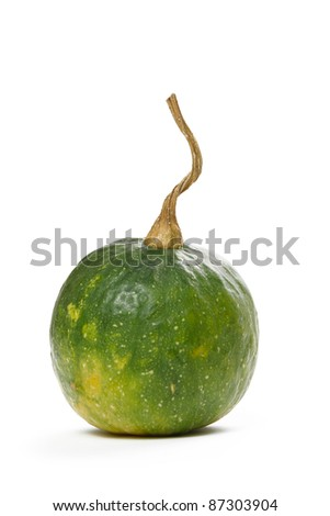 Green decorative pumpkin isolated on white