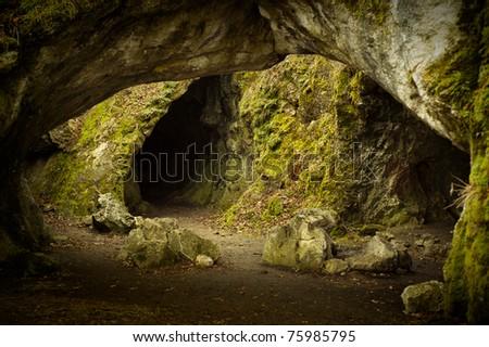 Green deep cave - stock photo