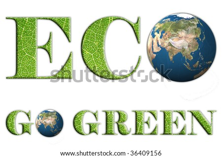 Green design, ECO and GO GREEN words with leaves texture - stock photo