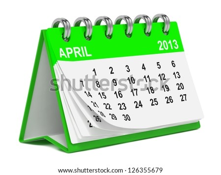 Green Desktop Calendar on April 2013. Isolated on White Background. - stock photo